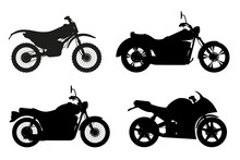 Motorcycle Set Icons Black Outline Silhouette Vector Illustratio