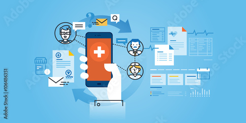 Fotografie, Obraz  Flat line design website banner of healthcare mobile app