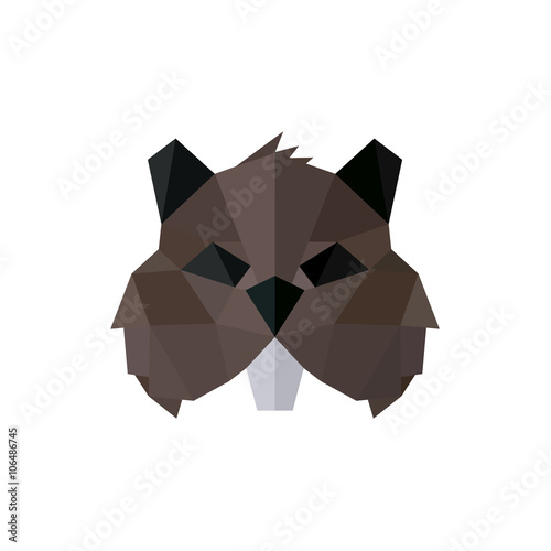 фотография  Rodent polygon logos low poly style illustration brown toothy animal faces