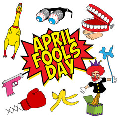 April Fools Day fun stuff set vector illustration