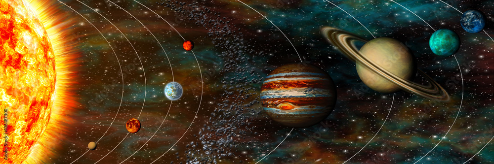 Fototapety, obrazy: Solar System panorama, planets in their orbits, ultrawide