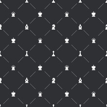Seamless Pattern With White Chess Icons For Book Endpaper