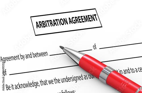 Photo 3d pen on arbitration agreement