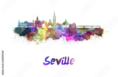 Seville skyline in watercolor