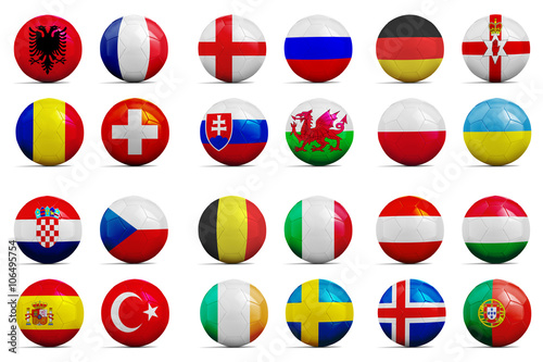 Soccer balls with groups team flags, Football Euro 2016. фототапет