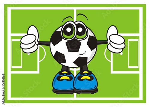 Poster  cartoon, isolated, sport, football, ball, illustration, goal, round, symbol, Cha