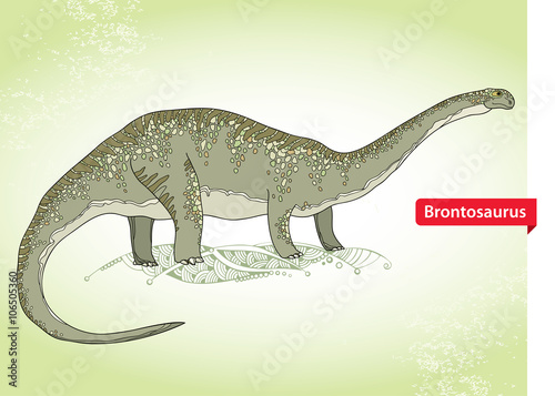 Photo  Vector illustration of Apatosaurus or Brontosaur or deseptive lizard on the green background