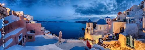 Foto op Plexiglas Santorini Santorin Panorama Abendstimmung