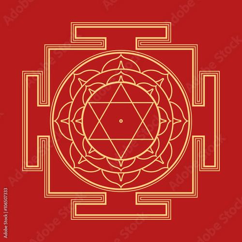 Canvastavla  monocrome outline Bhuvaneshwari yantra illustration.