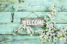 Welcome Sign Hanging By Skelet...