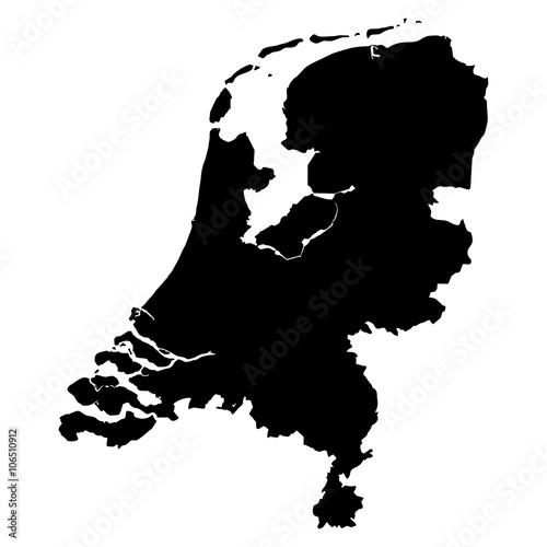 Netherlands black map on white background vector Fototapete