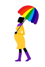 Pregnant Woman Silhouette With Rainbow Umbrella And Rubber Boots