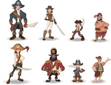 Group Of Cartoon Pirates With Swords.
