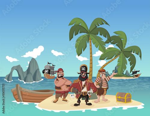 Zdjęcie XXL Kreskówka piraci na pięknej tropikalnej plaży z złotą skrzynką