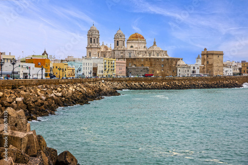 Printed kitchen splashbacks City on the water Cadiz, Spain. Seafront Cathedral Campo del Sur
