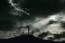 Crucifixion Of Jesus On Golgotha With Darkened Sky And Lightning Effect. Copy Space