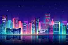 Vector Night City With Neon Gl...