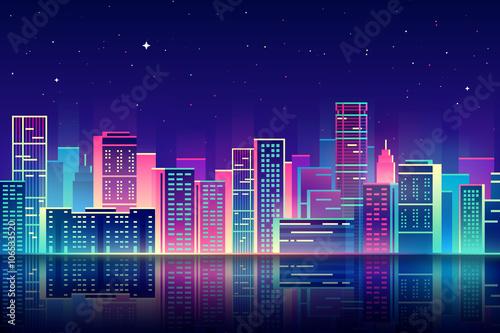Miasto noc wektor z neonową poświatą ilustracja.