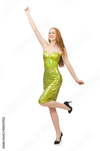 Foto op Canvas Bloemen vrouw Red hair girl in sparkling green dress isolated on white