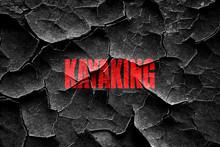 Grunge Cracked Kayaking Sign Background