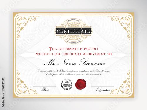 Elegant Certificate Template Design With Emblem Vintage Border A4