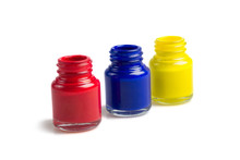 Bottles Of Primary Color Isolate On White Background.