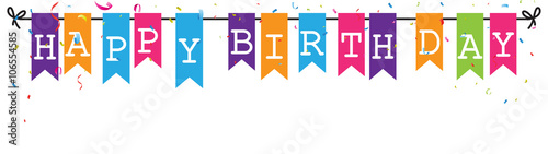 Valokuva  Bunting flags banner with happy birthday letter