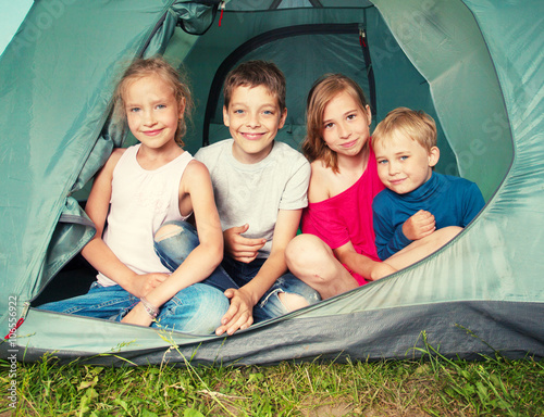 Photo  Children in a tent