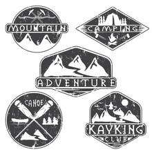 Kayaking, Camping,climbing And Adventure Vintage Grunge Labels S