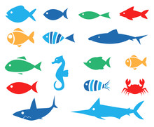 Aquarium Fishes - Set Of Vector Icons