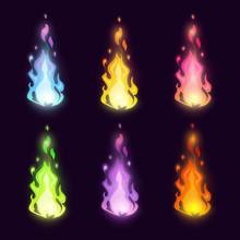 Magic Cartoon Fairy Colorful Fire Set