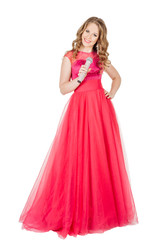 Studio shot beautiful young singing girl in elegant red dress