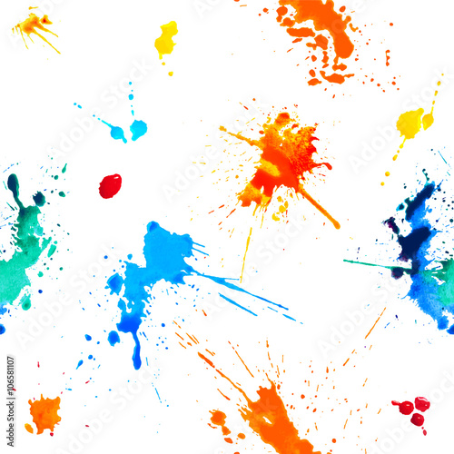 Poster Vormen Seamless pattern - colorful blots. Splash paint