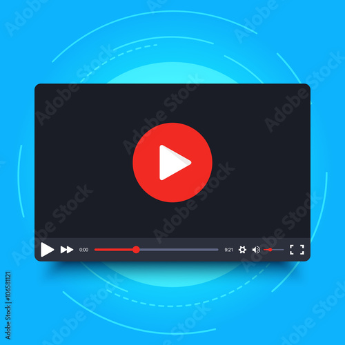 Video player design template with shadow for web and mobile