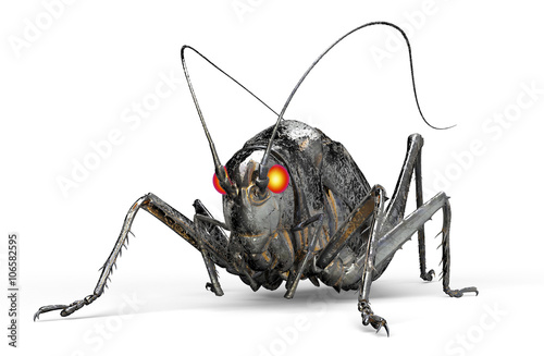 Fotografía metal robot insect isolated on white with clipping path, 3D illu