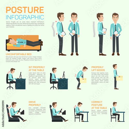 Fotografía  Vector elements of improving your posture. Infographic