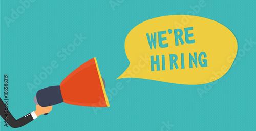 Fotografía  Hand holding megaphone - We are hiring