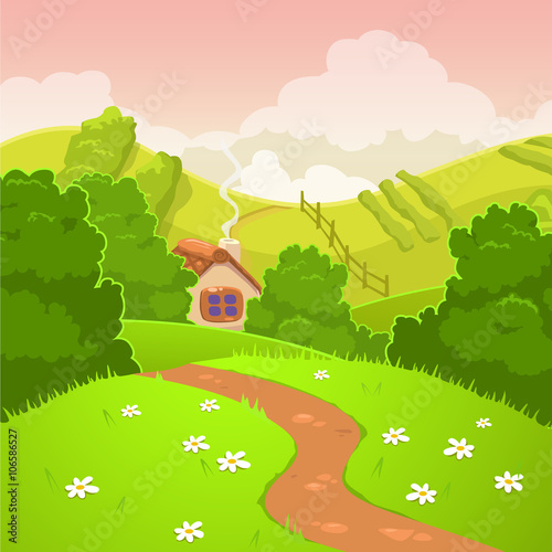 Poster Lime groen Cartoon nature country landscape
