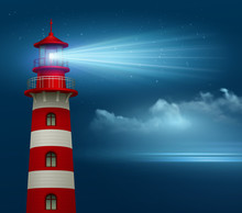 Realistic Lighthouse  In The Night Sky Background. Vector Illustration