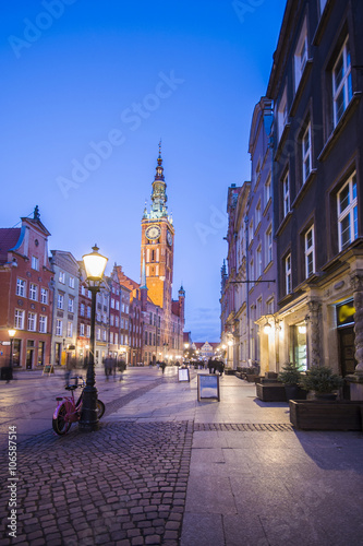 Gdansk. Danzig - night view of the Old Town