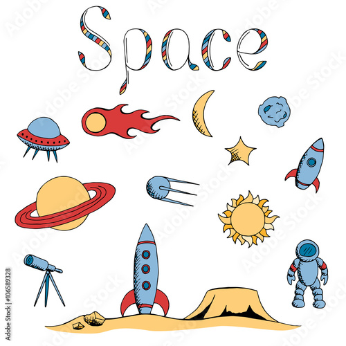 Poster Cartoon draw Space graphic set art color isolated illustration vector