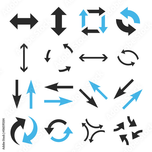 Exchange Arrows vector icon set. Collection style is bicolor blue and gray flat symbols on a white background.