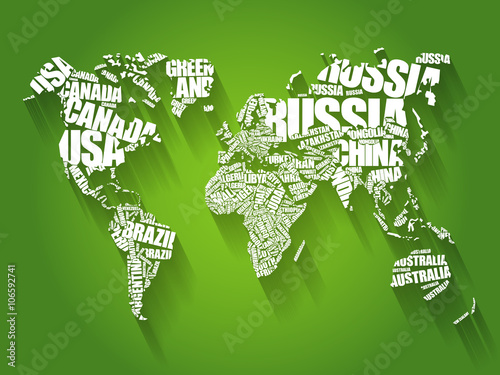 Obraz World Map in Typography word cloud concept, names of countries, flat style design background - fototapety do salonu