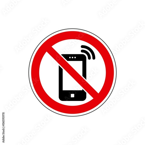 no phone cell phone sign vector the icon with a red