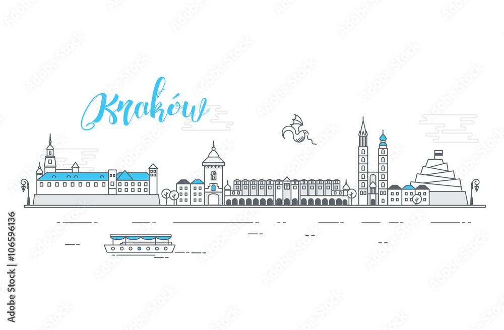 Fototapety, obrazy: Panorama miasta Kraków
