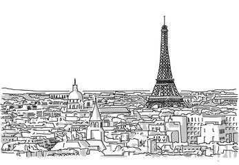 Panel Szklany Krajobraz About the Roofs of Paris Handmade Drawing with the Eiffel Tower in background
