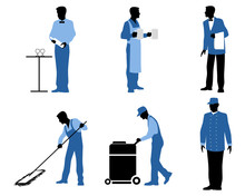 Six Professionals Silhouettes