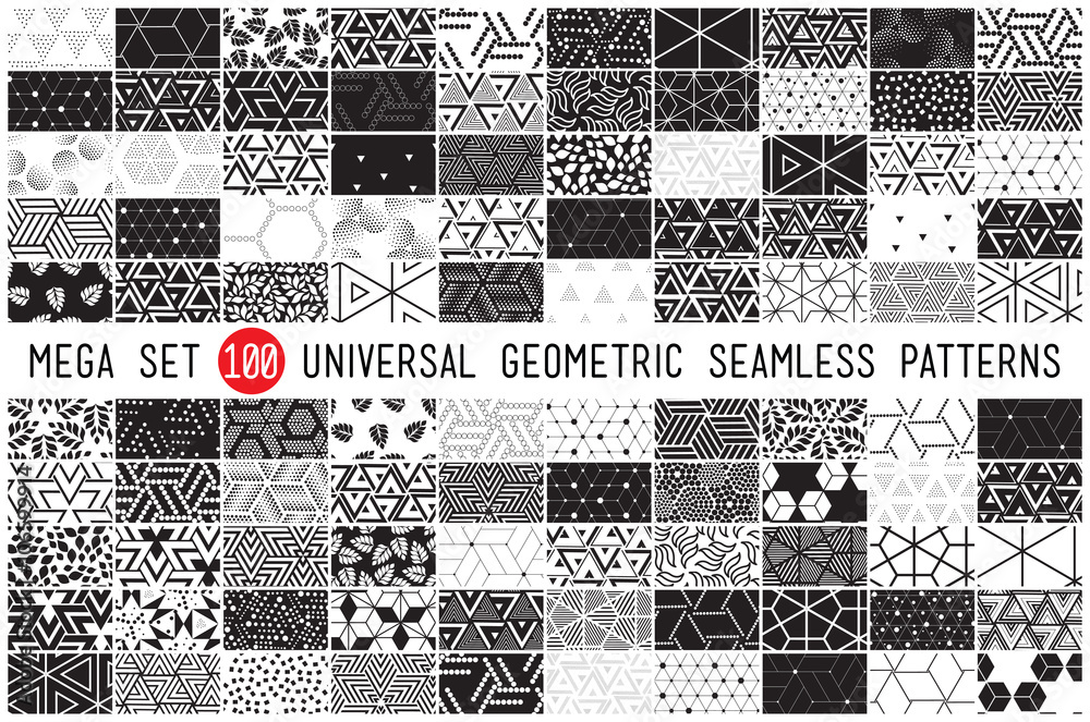 Fototapety, obrazy: 100 Universal different geometric seamless patterns