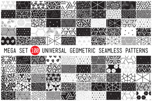 Ingelijste posters Kunstmatig 100 Universal different geometric seamless patterns