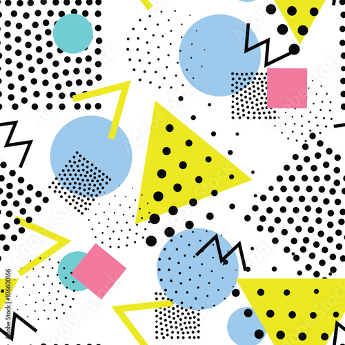 Fotografering  Seamless geometric pattern in retro, memphis 80s style